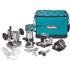 Makita 1-1/4 HP Compact Router Kit, Fixed, Plunge, Tilt and Offset bases, 10,000-30,000 RPM, var. spd., bag