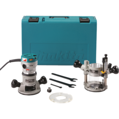 Makita 2-1/4 HP Router Kit, Plunge and Fixed Base, 8,000-24,000 RPM, var. spd., case