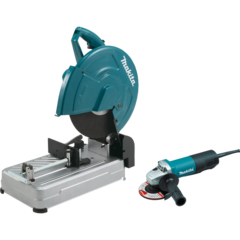 "Makita 14"" Cut-Off Saw with Tool-Less Wheel Change and 4-1/2"" Paddle Switch Angle Grinder (9557PB)"