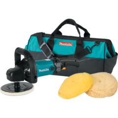 "Makita 7"" Polisher, 10 AMP, 600-3,000 RPM, var. spd., loop handle with wool pads and bag"