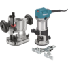 Makita 1-1/4 HP Compact Router Kit, Fixed and Plunge bases, 10,000-30,000 RPM, var. spd.