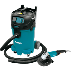 "Makita 12 Gallon Xtract Vac Wet/Dry Vacuum and 7"" Angle Grinder (GA7011C), dust extracting shroud"