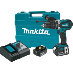 "Makita 18V LXT® Lithium-Ion Cordless 1/2"" Hammer Driver-Drill Kit, 750 in. lbs. torque, 2-speed, var. spd., dual L.E.D. Light, case (4.0Ah)"