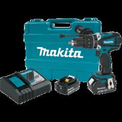 "Makita 18V LXT® Lithium-Ion Cordless 1/2"" Hammer Driver-Drill Kit, 750 in. lbs. torque, 2-speed, var. spd., dual L.E.D. Light, case (4.0Ah)"