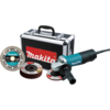 "Makita 4-1/2"" Paddle Switch Cut-Off/Angle Grinder with aluminum case, diamond blade, 5 ea. grinding wheel, cut-off & grinding guards"