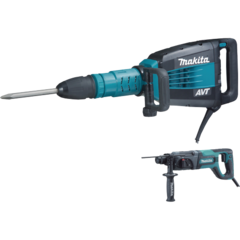"Makita 27 lb. AVT® Demolition Hammer, accepts SDS-MAX bits, case, and 1"" Rotary Hammer, accepts SDS-PLUS bits"